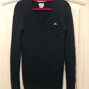 Lacoste Long Sleeve Cable Knit V-Neck Sweater